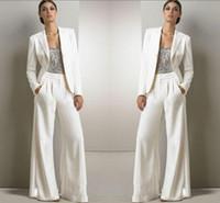trajes de mujer bling al por mayor-2020 nuevo Bling de las lentejuelas de color blanco marfil juegos de pantalones madre de la novia Vestidos de gasa de partido de las mujeres esmoquin formal Moda Modesto