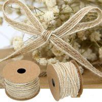Huge 10m Roll Woven Natural Rustic Jute Burlap Hessian Tape Ribbon Bow Making