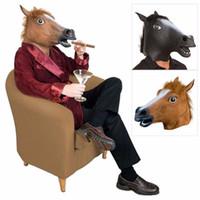 trajes del dia de los inocentes al por mayor-3 estilos Horse Head Mask Animal Costume Toys Party Halloween 2019 New Year Decoration April Fools Day Mask