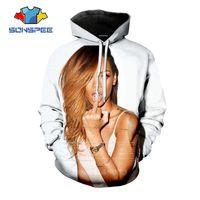 männer sexy langarm kapuzenpullis großhandel-SONSPEE Herbst Männer Frauen lösen Sweatshirt 3D-Druck Sexy Sängerin Rihanna Hoodies Langarm-Hip Hop Top O Neck Pullover C059-14