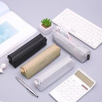 None Simple Transparent Color Mesh Zipper Pencil Case for School Student Stationery