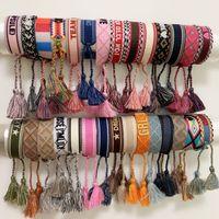 materiais para costura venda por atacado-materiais corda estilo de pulseira de tecido com palavras de costura e mão de borla pulseira jóias da marca para o presente de mulheres