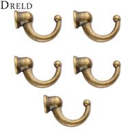 kapı mücevheratı toptan satış-Hooks DRELD 5 adet Antik Kapı Askı Kanca Küçük Duvar Askı Ahşap Mücevher Kutusu Banyo Şapka için Anahtarlık Ceket Mobilya Donanım + Vida