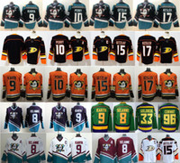 nylon trikots großhandel-Der mächtige Anaheim Ducks-Hockey-Trikot Ryan Getzlaf Corey Perry Kesler Teemu Selanne Paul Kariya Charlie Conway Gordon Bombay schwarz blaugrün orange