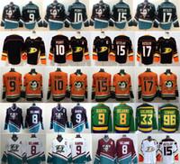 kariya jersey venda por atacado-Mighty Anaheim Ducks Jersey de hóquei Ryan Getzlaf Corey Perry Kesler Teemu Selanne Paul Kariya Charlie Conway Gordon Bombay laranja verde-azulado