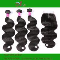 Wholesale brazilian unprocessed body wave hair closure resale online - AiS A Brazilian Virgin Human Hair Bundles With Closure x4 Lace Closures Body Wave Straight Natural B Color Unprocessed Hair Extension