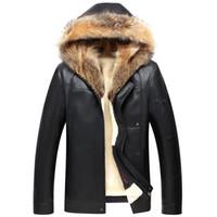 kapüşonlu koyun derisi ceket toptan satış-Rusya Kış Gerçek Kürk Yaka Deri Ceket Erkekler Sahte Sheepskin Kalın Kapşonlu Deri Ceket Erkek Lüks WINDBREAKER Coat