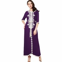 элегантная этническая одежда оптовых-Мусульманские женщины с длинным рукавом платье макси длинное платье исламская одежда марокканский кафтан элегантная вышивка этническое винтажное платье туника 15 T5190613