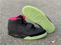 sapatilhas venda por atacado-Authentic Kanye West Air 2 II NRG lobo cinzento Pure Platinum Preto tênis de basquete Homens 508214-006 508214-010 Sapatilhas Sprots brilham no escuro