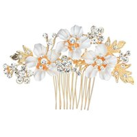 Wholesale bridal combs for sale - Group buy Bride Flower Fabric Hair Comb Wedding Hair Accessories Bridal Hairs Jewelry Headwear Hair Decorate Alloy Ornaments