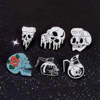 76beaeb0bc8 Wholesale japanese brooch pins for sale - Skull Collection Rose Flowers  Japanese Samurai Ninja Punk Skull