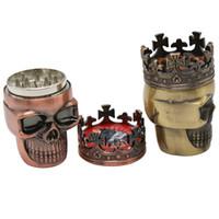 Wholesale mini herb grinders for sale - Group buy 3 Part Cool Skull Smoke Grinder Mini Skull Tobacco Grinder Pocket Herb Grinder Tool With Compact Sharp Teeth