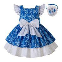 roupa bonito da menina do verão da menina venda por atacado-Pettigirl Nova Flor Azul Roupa Da Menina Da Criança Para O Verão Com As Crianças Bonitos Arco Branco Desgaste G-DMGD203-56