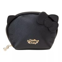 Wholesale kitty makeup bag resale online - Fashion Hello Kitty PU Leather Shell Clutch Bag Women Makeup Bag Pouch Cosmetic Bags Make Up Beauty Case Storage Toiletry Bag Y181122