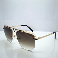 Wholesale red mirror sunglasses aviator online - Fashion Luxury Mens Sunglasses UV400 Protection Lens Coating Mirror Lens aviator sun glasses Half frame avant garde top quality eyewear