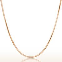 roségold überzogene kugelkette großhandel-Heißer Verkauf Rose Gold Schlangenkette Silber Überzogene Bijoux Benutzerdefinierte 45 cm 18 Zoll Ball Lange Kette Gold Halskette Für Frauen Zubehör