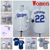 camisetas de béisbol juvenil al por mayor-Mujeres Jóvenes Niños Los Ángeles Clayton Kershaw Jersey Dodgers Manny Machado Jackie Robinson Yasiel Puig Gris Blanco Azul Jerseys de béisbol