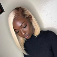 Wholesale malaysian blonde bob wig for sale - Group buy Brown Blonde Ombre Bob Lace Front Wigs For Black Women T4 Brazilian Human Hair Short Lace Frontal Wigs Pre Plucked
