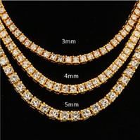 rosa diamant herz anhänger halskette großhandel-Explosive europäische und amerikanische Mode attraktiven Hip-Hop 4mm Legierung Wasser bohren eine Reihe von Halsketten Gold Silber Rose Gold multispezifisch