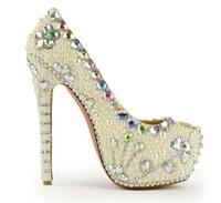 elmas gümüş balo ayakkabıları toptan satış-2019 T gösterisi Lüks Akşam Ayakkabı Gümüş Platformu Kristal Ayakkabı Parti Kıyafeti Yüksek Topuklu Handmad Elmas Taklidi Gelin Ayakkabıları Parti Balo