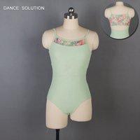 ingrosso giubbotto verde corpetto-Green Printing maglia body danza per le donne cotone lycra balletto body danza costumi per le ragazze tuta vestiti di balletto