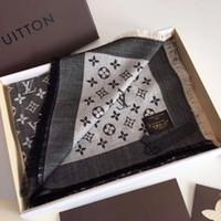 écharpe en renard bleu achat en gros de-Bonne qualité luxe foulard femmes mode coton de soie lettre designer marque foulard châle dames foulards taille 140x140 cm