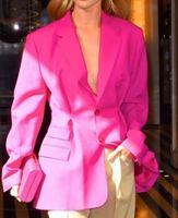 ingrosso seni interi-Nuovi abiti da donna in stile europeo Tasche a manica intera Collo monopetto Collo rovesciato Cappotto da donna sciolto Marea Colore puro
