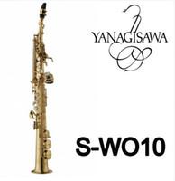 saxophone soprano droit achat en gros de-YANAGISAWA W010 Saxophone Soprano Laiton Tuyau Droit Laiton Or Laque Sax B Plat Instrument de Musique avec Accessoires de Cas Livraison Gratuite