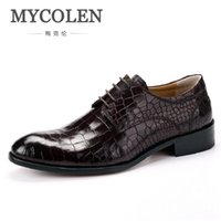 подлинная кожа крокодила печать оптовых-MYCOLEN Fashion Handmade Classic  Men Oxford Shoes Genuine Leather Casual Crocodile Print Men Shoes For Wedding