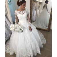 Wholesale scoop neck corset wedding dresses resale online - Vintage Modest Wedding Dresses Scoop Neck Corset Long Sleeves Chapel Wedding Gowns Lace Appliques Plus Size Country Bridal Dress