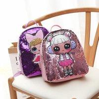 mochila de estudante miúdo venda por atacado-lol Mochila Lantejoulas Dos Desenhos Animados Adolescentes Anime Crianças Estudante Saco de Escola Viagem Bling Mochila Sacos Para Criança e Adulto