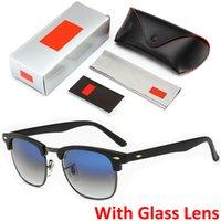 için menteşeler toptan satış-Üst Kalite Cam Lens Tasarımcı Gözlük Metal Menteşe Kadın Erkek Lüks Güneş Unisex Güneş Gölge Perakende Box ve Kılıf ile Moda Güneş