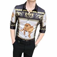 tierdruck kleider zum verkauf großhandel-2019 neue Herren Chemise Slim Fit Stil Mode Top Tees Heißer Verkauf Animal Print Herren Designer Hemden Stehkragen Shirts Größe M-3XL