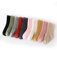 calcetines antideslizantes para niños pequeños al por mayor-10 colores para niños pequeños con doble aguja rayas verticales Calcetines cortos de color liso Calcetines para niños Calcetines antideslizantes para bebés Ropa para niños M302