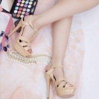 сандалии из белой кожи оптовых-ENMAYER Качество Натуральная Кожа Сандалии На Высоком Каблуке Женщины Сексуальная Обувь Леди Обувь Белые Туфли Платформа Партия Свадебная Обувь