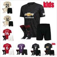 jerseys de fútbol unidos al por mayor-niños KIT 2019 KITS 2020 Manchester camiseta de fútbol Rashford FÚTBOL JERSEY 19/20 Pogba ALEXIS LINGARD KITS DE MAILLOT DE PIE ESTADOS con calcetines