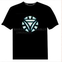 camisetas de iluminación al por mayor-Mens Verano Impreso Camisetas Control de Sonido Música Emisión de Luz Camiseta de Manga Corta Diodo Emisor de Luz Marvel Películas Ropa Masculina