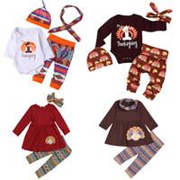 trajes de bebe beige al por mayor-Conjuntos de ropa de acción de gracias para bebés 15 Diseño de algodón de manga larga Traje estampado de pavo Ropa de diseñador para niños Outsuits para niños 04