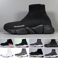 botas de sapato preto n branco venda por atacado-Balenciaga Cheap Designers Speed Trainer casuais sapatos pretos branco brilho vermelho planas Moda Meias Botas Sneakers moda Trainers Runner N-45K