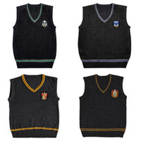 Wholesale xs women costumes online - Harry Potter Sweater Vest V neck COS Magic School Waistcoat Slytherin Gryffindor Ravenclaw Cosplay Costume Men Women Uniform Sweater XS XL
