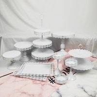 ingrosso tre stand a livello-Commercio all'ingrosso 10 pezzi in metallo Set Vintage Vintage Two Three Tiers Cup rotonda rosa bianco Cupcake Crystal Party Cake Stand