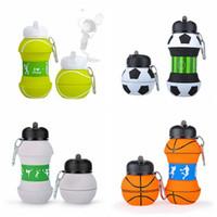 Wholesale folding water bottles resale online - Kids Sports Water Bottle School Folding Drinking Cup Ball Shaped Leak Proof Baseball Tennis Soccer Volleyball Water Bottle TTA2017