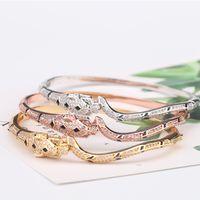 venda de encantos em ouro rosa venda por atacado-Mulheres Rose Gold Leopard Bangle Designer de Jóias de Luxo Mulher Diamante Magro Bangles Encantos Jóias de Noivado de Casamento à Venda