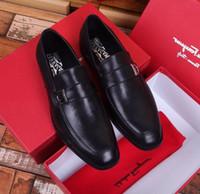 zapatos casuales al por mayor-2019 Zapatos de negocios casual negros 207520 Hombres Zapatos de vestir Mocasines Mocasines Lace Ups Monk Correas Botas Conductores Zapatillas de cuero reales Zapatos