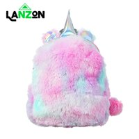 Wholesale rainbow bedding sets for sale - Group buy Lanzon Plush Unicorn Backpack Children Cute Cartoon Mini School Bag Gifts Toy Doll for Student Girls Soft Rainbow Fur Backpacks