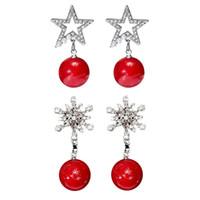 doğal kırmızı kristal toptan satış-Noel HR Yeni Yıl Hediye Kadınlar Noel Kırmızı Doğal Taş Takı Gümüş Kaplama Yuvarlak Top Kristal Rhinestone Drop Küpeler