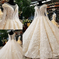 Wholesale colorful wedding dresses for sale - Amazing Vintage Wedding Dresses Sheer Neck Long Sleeves D Appliques Bridal Dress Lace Up Back Lace Tulle Wedding Dress Custom Made