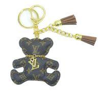keychain bonito venda por atacado-fashoin saco charme urso bonito animal chaveiro acessórios chaveiro cão PU couro urso padrão carro chaveiro jóias saco charme