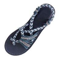 römische hausschuhe großhandel-Frauen Sandalen 2019 Sommer Neue Mode Seil Flip Flops Sandalen Sommer Mode Römischen Strand Schuhe Weibliche Beiläufige Hausschuhe