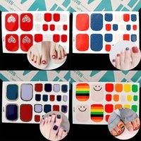 nail art wrap aufkleber großhandel-Lamemoria 22 Tips / Sheet Beauty Nails Sticker Herz Glitzer Nail Wraps Multicolor Nail Art Volle Sticker Klebetipps Maniküre